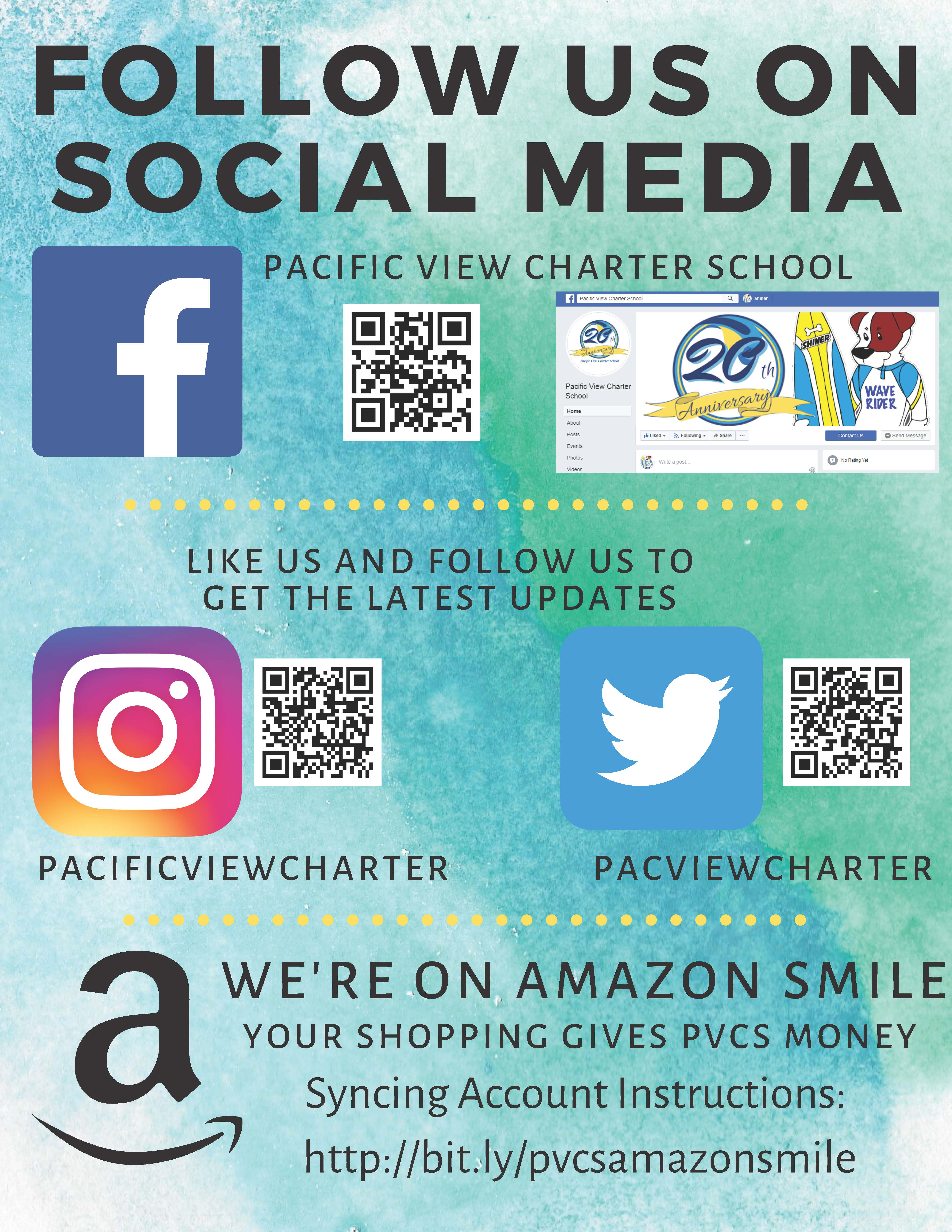 Flyer image of QR codes for Facebook, Instagram, twitter, and links for amazon.